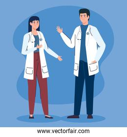 couple doctors with stethoscope avatar character
