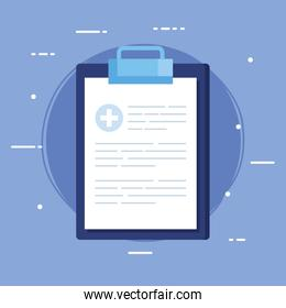 clipboard and paper document with cross symbol health