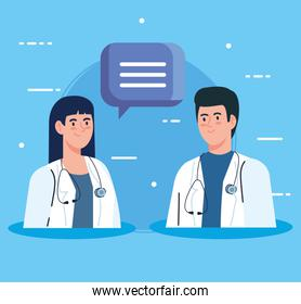 couple doctors with stethoscope and speech bubble