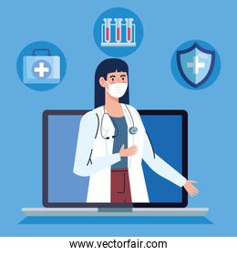 doctor female and laptop with app medicine online