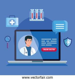 doctor and laptop with app medicine online