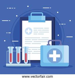 tubes test with clipboard and first aid kit