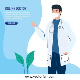 banner with doctor male using face mask