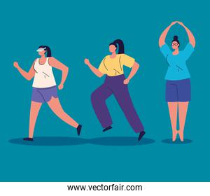 group women practicing exercise avatar character