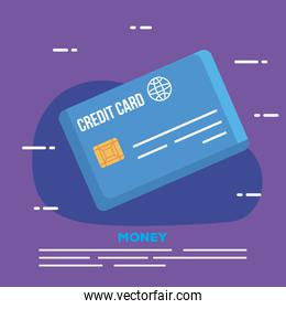 credit card electronic in purple background