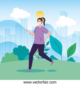 woman running using face mask in landscape