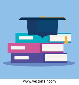 pile books with hat graduation