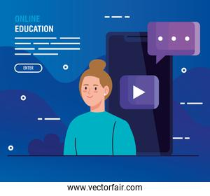 woman in education online by smartphone