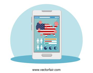 smartphone with usa flag covid19 pandemic