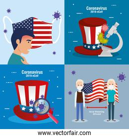 usa flag and map in set covid19 icons