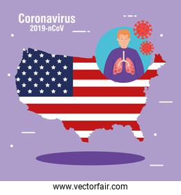 usa map and flag with covid19 particles and patient