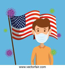 man using face mask and usa flag covid19 pandemic