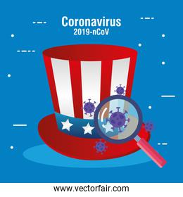 usa flag in hat with magnifying glass and covid19 particles