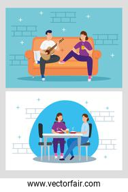 young couple eating and playing guitar in livingroom