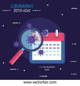 covid19 particles with magnifying glass and calendar
