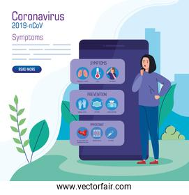 woman sick in smartphone character