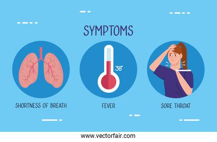 woman sick with thermometer and lungs