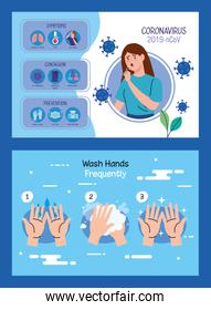 woman sick with covid19 infographics