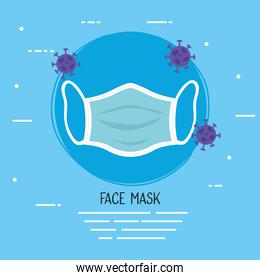 face mask accessory medical with covid19 particles
