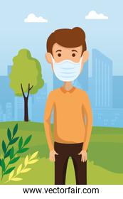 man using facer mask for covid19 pandemic