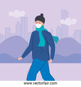 woman using face mask for covid19 pandemic