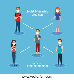 people using face mask and social distancing for covid19