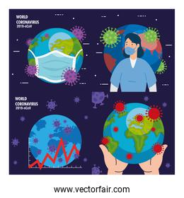 planet earth with covid19 particles set icons