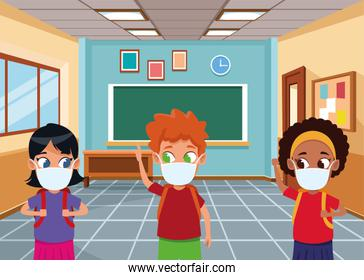 interracial kids using face masks for covid19 in the classroom