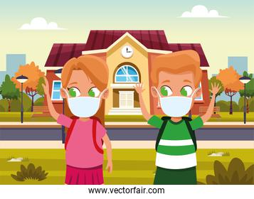little kids couple using face masks for covid19 outdoor house