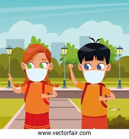 little kids couple using face masks for covid19 in the park
