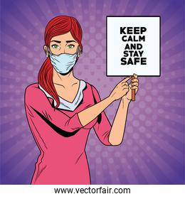 woman using face mask for covid19 with keep calm banner