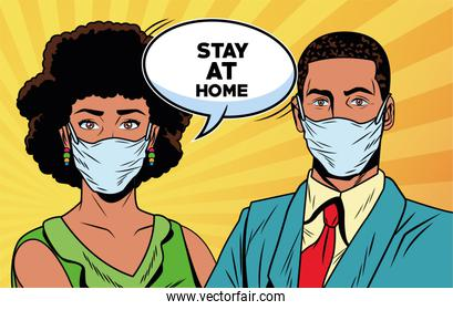 afr couple using face masks for covid19 saying stay at home