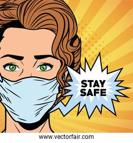 woman using face mask for covid19 saying stay safe