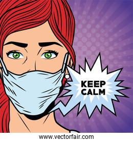 woman using face mask for covid19 saying keep calm