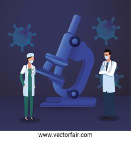 doctors couple with laboratory equipment