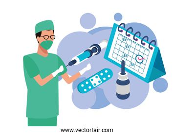 surgeon with laboratory equipment character