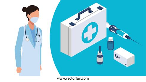 female doctor with laboratory equipment character