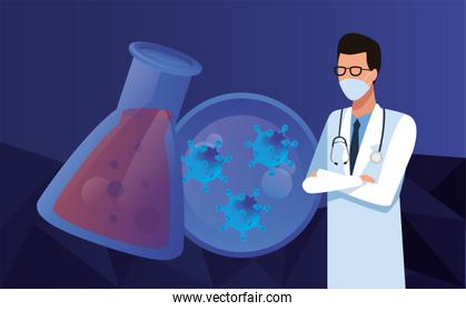 doctor with laboratory equipment character