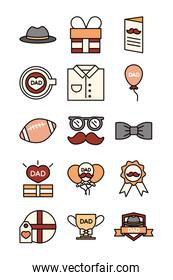 happy fathers day, celebration accessories message decoration party icon set line and fill icon