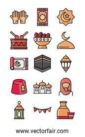 eid mubarak islamic religious celebration traditional icons set flat style icon