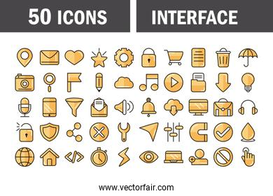interface internet web technology digital icons set