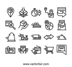 delivery cargo service logistic shipping commerce icons set line style