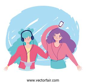 happy girls listening music with smartphone and headphones