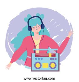 girl listening music with stereo radio and earphones