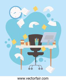 stress at work, falling papers desk chair computer clock sticky notes and clock