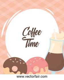 coffee time, latte cup with straw and donuts fresh aroma beverage