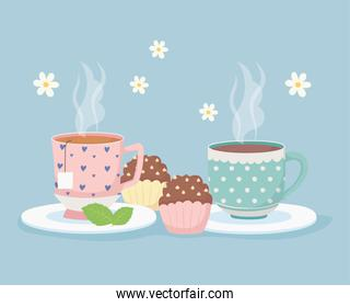 coffee time and tea, hot cups and sweet cupcakes dessert