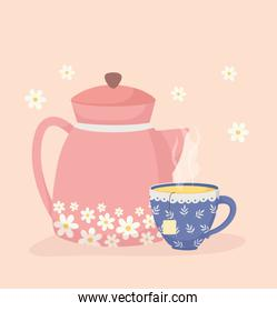 coffee time and tea, teapot and cup aroma fresh flowers decoration