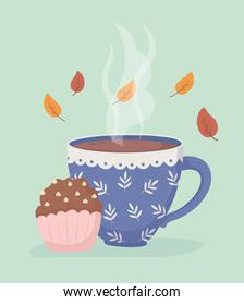 coffee time and tea, coffee cup and sweet cupcake leaves