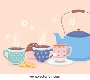 coffee time and tea, blue kettle cups and sweet cupcake dessert